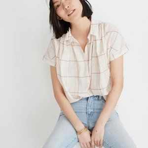 Madewell Central Popover Shirt Fine Plaid Top